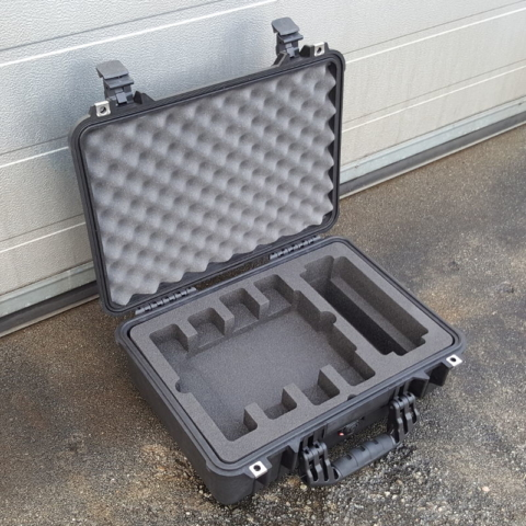 Pelicase 1500 med cnc maskinert skuminnredning for måleutstyr